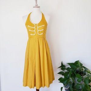 Anthropologie Floreat Marigold Halter Dress 4